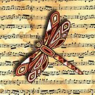 Dragonfly Music Sheet Sepia by Lisa Frances Judd~QuirkyHappyArt