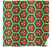 Red flowers pattern Poster