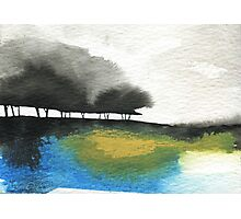 Watercolour Landscape with Trees Photographic Print