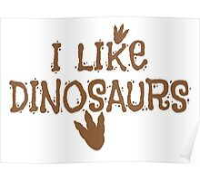 I LIKE DINOSAURS in brown with trex print Poster