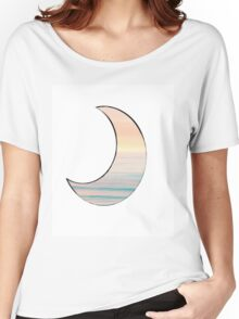 Pastel Sunset/Ocean Horizon on Moon  Women's Relaxed Fit T-Shirt