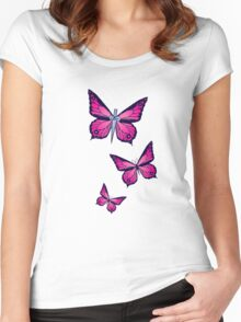 Ocean Butterflies Part 1 - Pale Pink Women's Fitted Scoop T-Shirt