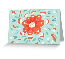 Whimsical Decorative Red Flower Greeting Card