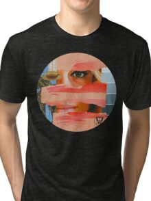 She lives in California, she adores Bowie, Vintage Collage Tri-blend T-Shirt