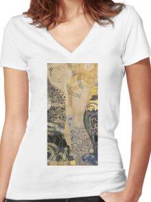 Gustav Klimt  - Water Serpents Women's Fitted V-Neck T-Shirt
