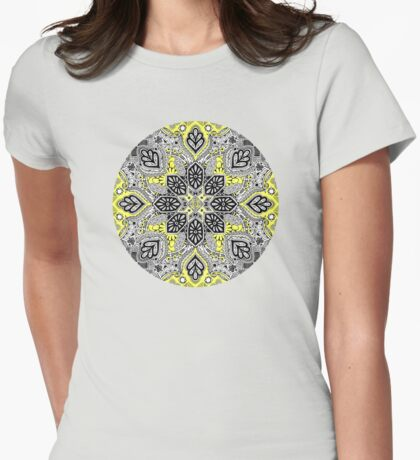 Boho Sunshine Medallion Pattern Womens Fitted T-Shirt