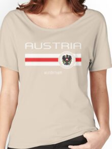 Euro 2016 Football - Austria (Home Red) Women's Relaxed Fit T-Shirt