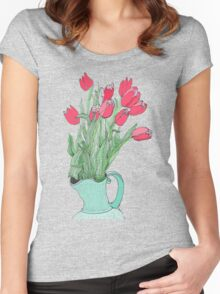 Red Tulips ~  Women's Fitted Scoop T-Shirt