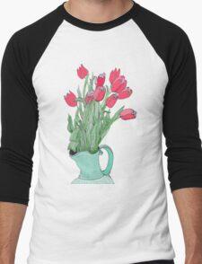 Red Tulips ~  Men's Baseball ¾ T-Shirt