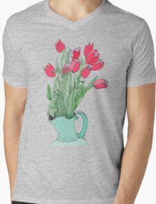 Red Tulips ~  Mens V-Neck T-Shirt