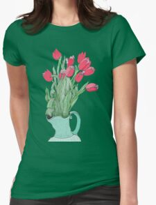 Red Tulips ~  Womens Fitted T-Shirt