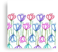Pink Purple Blue and Red Watercolor Tulips Canvas Print