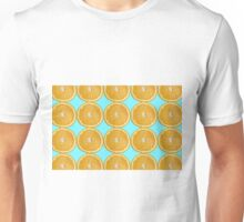 Oranges on blue background color photo Unisex T-Shirt