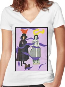 . . .she called him Mister Hat. . . Women's Fitted V-Neck T-Shirt