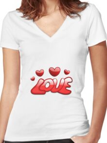 Love Hearts Women's Fitted V-Neck T-Shirt