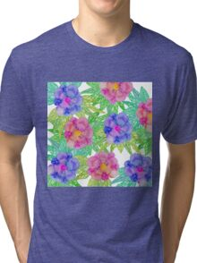 Girly Pink Purple Watercolor Flowers and Foliage Tri-blend T-Shirt