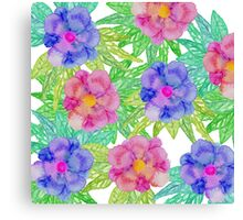 Girly Pink Purple Watercolor Flowers and Foliage Canvas Print