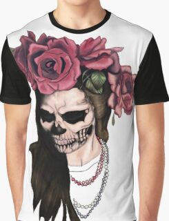 Skull face woman and roses Graphic T-Shirt