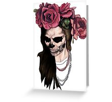 Skull face woman and roses Greeting Card
