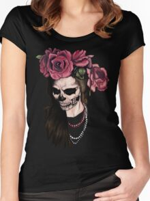 Skull face woman and roses Women's Fitted Scoop T-Shirt