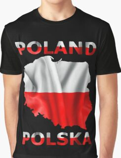 Poland Flag Country Outline Graphic T-Shirt