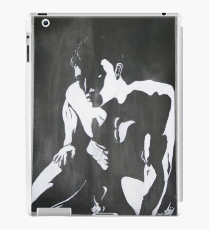 Nude man male portrait black white modern original unique art iPad Case/Skin