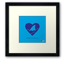 LOVE: Sharks (blue) Framed Print