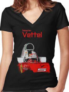 Sebatian Vettel; Ferrari 2016 Women's Fitted V-Neck T-Shirt