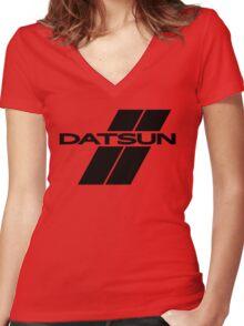 Datsun Stripes Women's Fitted V-Neck T-Shirt