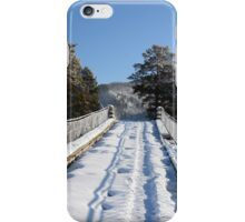 pine and suspension bridge on the river Katun, Altai, Siberia, Russia iPhone Case/Skin