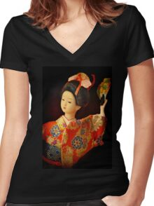 Little Geisha Doll Women's Fitted V-Neck T-Shirt