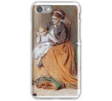 George Elgar Hicks - A girl listening to the ticking of a pocketwatch while sitting on her mother's lap iPhone Case/Skin