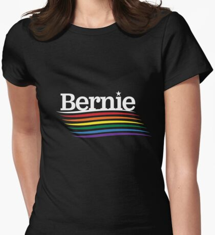 Bernie Pride - Rainbow Flag  Womens Fitted T-Shirt