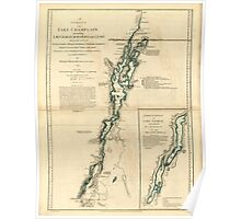 American Revolutionary War Era Maps 1750-1786 276 A survey of Lake Champlain including Lake George Crown Point and St John Poster