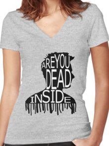 Are You Dead Inside? Women's Fitted V-Neck T-Shirt