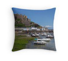 Mont Orgueil, Gorey, Jersey Throw Pillow