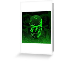 Gamer Skull CARTOON GREEN Greeting Card