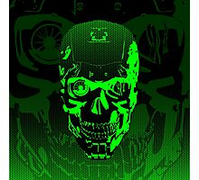Gamer Skull CARTOON GREEN Photographic Print