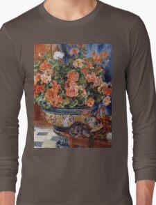 Renoir Auguste - Geraniums And Cats Long Sleeve T-Shirt