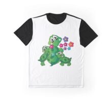 Cartoon Momma Turtle with her Babies Graphic T-Shirt