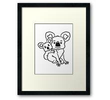 sweet little baby koala cute mamapapa child sitting hold back young family Framed Print