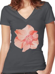 Pretty Pink Daffodil Graphic Women's Fitted V-Neck T-Shirt