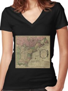 American Revolutionary War Era Maps 1750-1786 348 Bowles's new pocket map of the United States of America the British possessions of Canada Nova Scotia and Women's Fitted V-Neck T-Shirt