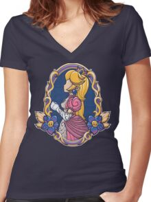 Stained-Glass Peach Women's Fitted V-Neck T-Shirt