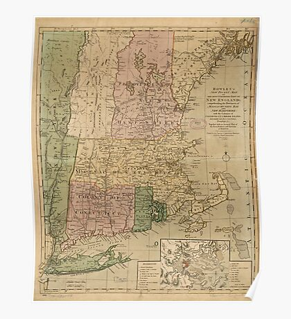 American Revolutionary War Era Maps 1750-1786 347 Bowles's new pocket map of the most inhabited part of New England comprehending the provinces of Poster