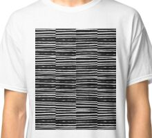 Black and white minimal modern art home decor broken painting lines grid texture  Classic T-Shirt