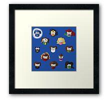 Nerd Girl (Owls) - Blue Framed Print