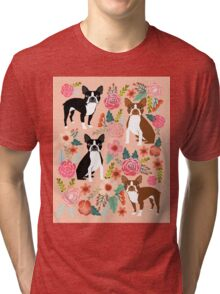 Boston Terrier florals pink peach pastel flowers spring summer pet portrait gifts for boston terrier owners Tri-blend T-Shirt