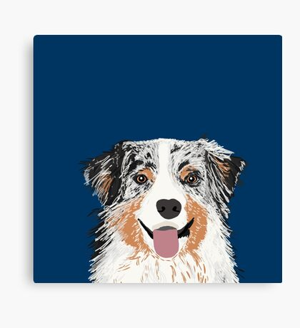 Australian Shepherd pet portrait dog gifts for aussie owner dog breeds Canvas Print