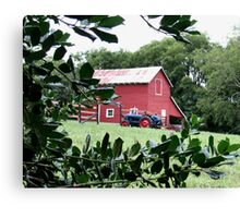 """""""Red Barn Through The Green Foliage""""... prints and products Canvas Print"""